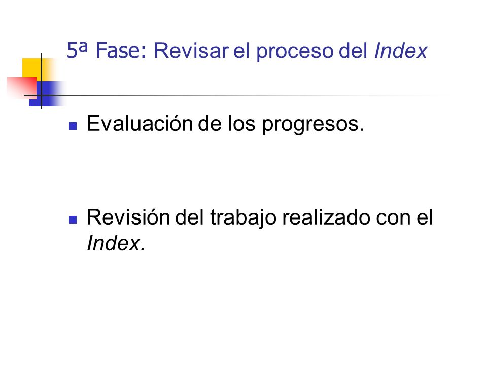 5ª Fase: Revisar el proceso del Index