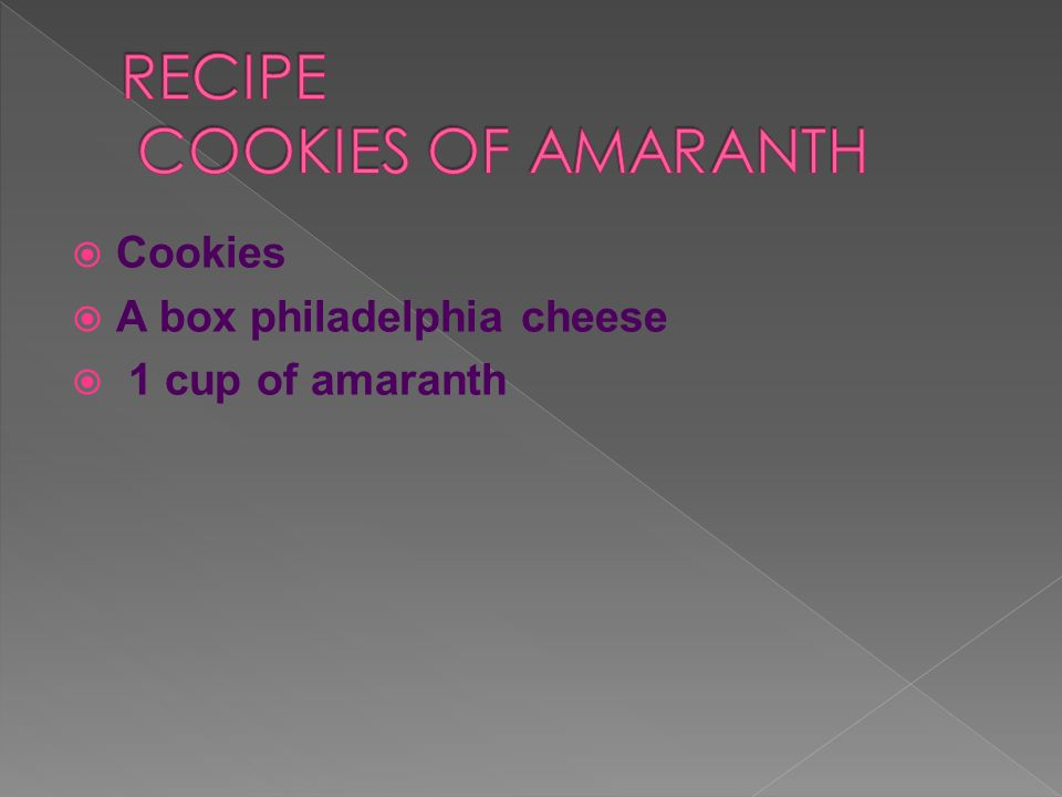RECIPE COOKIES OF AMARANTH