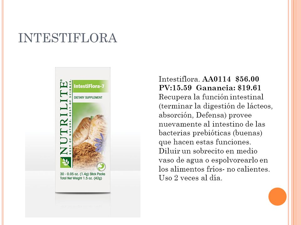 INTESTIFLORA Intestiflora. AA0114 $56.00 PV:15.59 Ganancia: $19.61