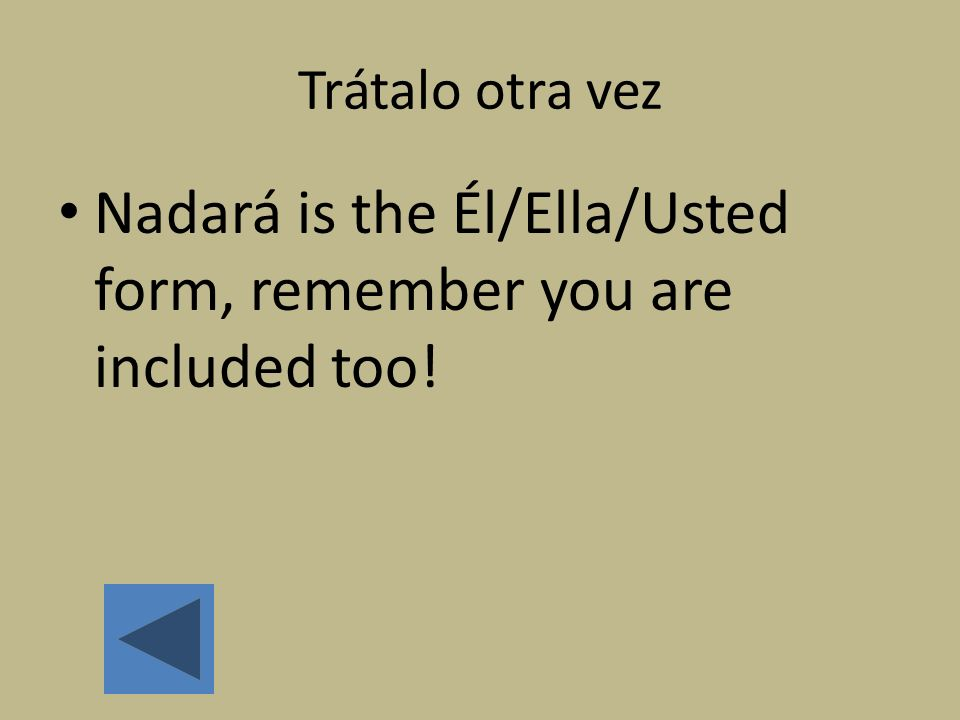 Nadará is the Él/Ella/Usted form, remember you are included too!