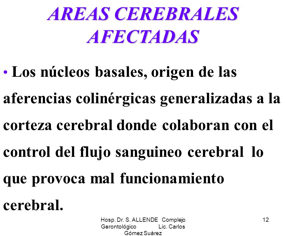 AREAS CEREBRALES AFECTADAS