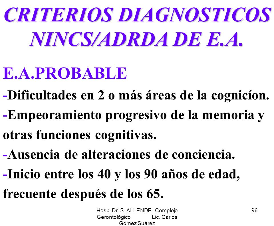 CRITERIOS DIAGNOSTICOS NINCS/ADRDA DE E.A.