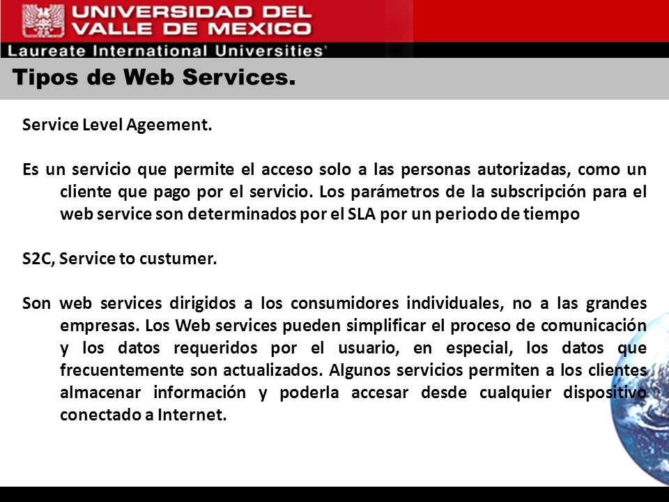 Tipos de Web Services. Service Level Ageement.