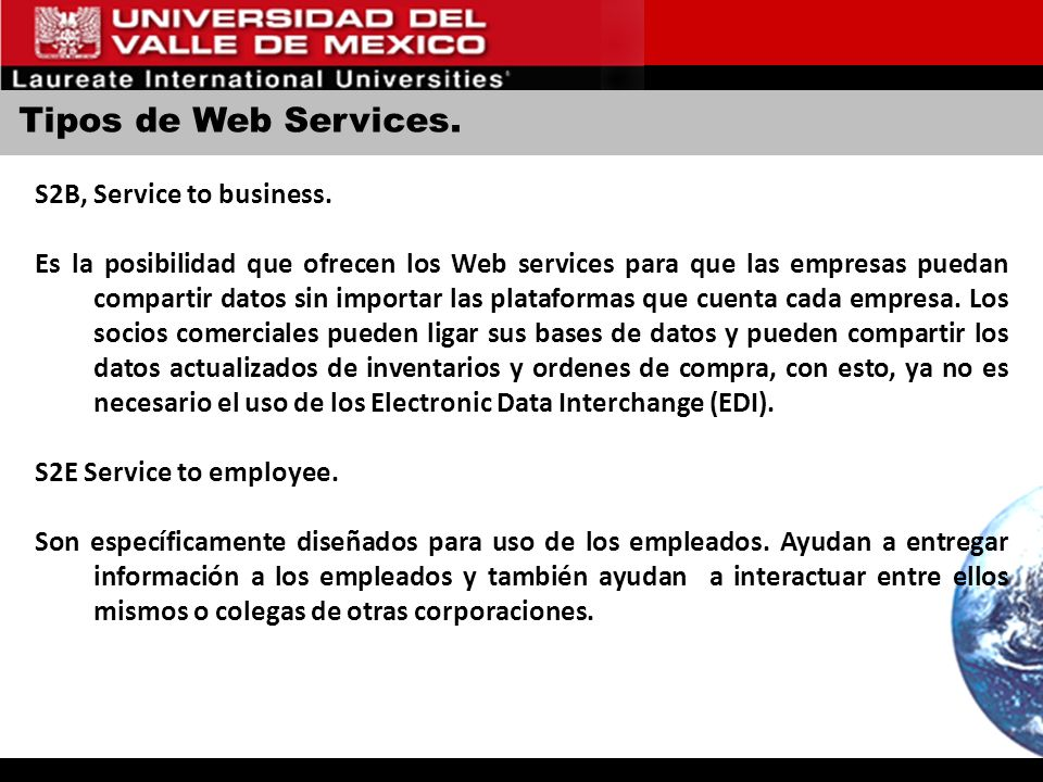 Tipos de Web Services. S2B, Service to business.