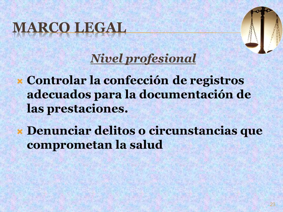 Marco Legal Nivel profesional