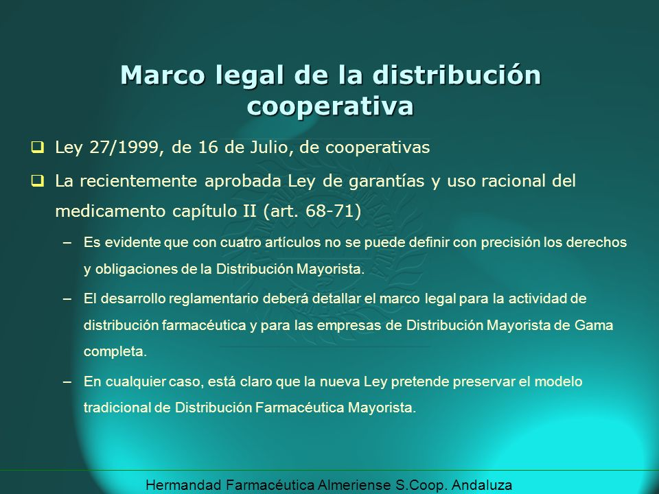 Marco legal de la distribución cooperativa