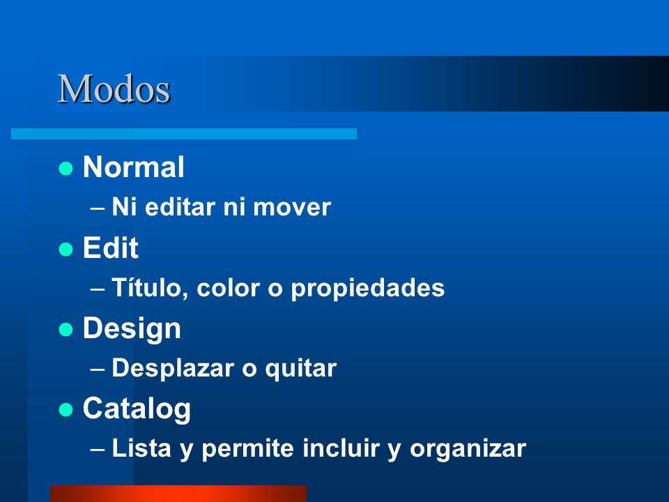 Modos Normal Edit Design Catalog Ni editar ni mover