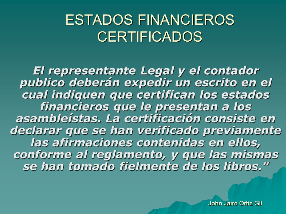 ESTADOS FINANCIEROS CERTIFICADOS