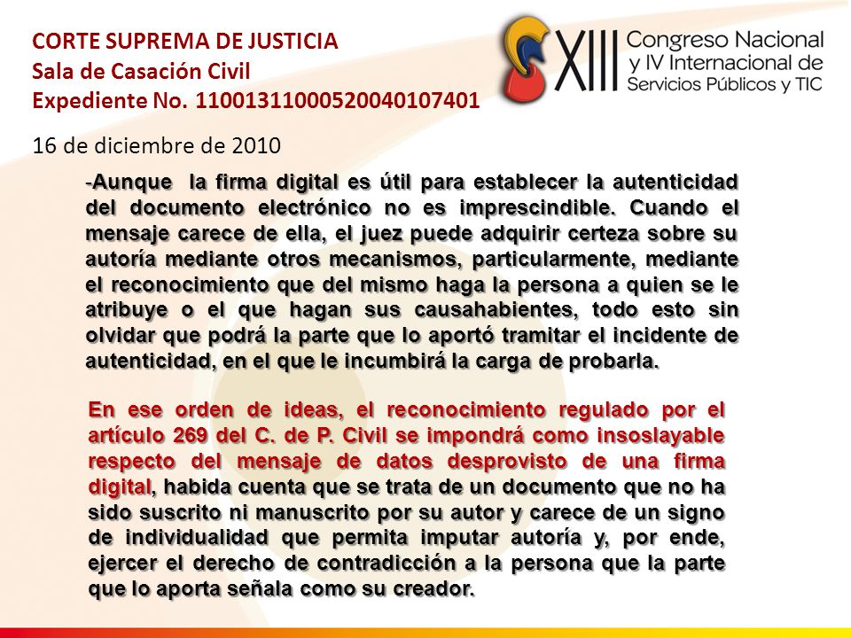 CORTE SUPREMA DE JUSTICIA Sala de Casación Civil Expediente No