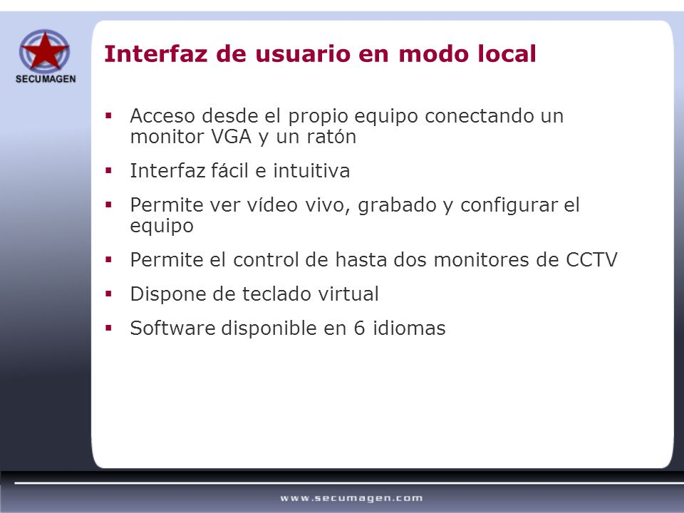Interfaz de usuario en modo local