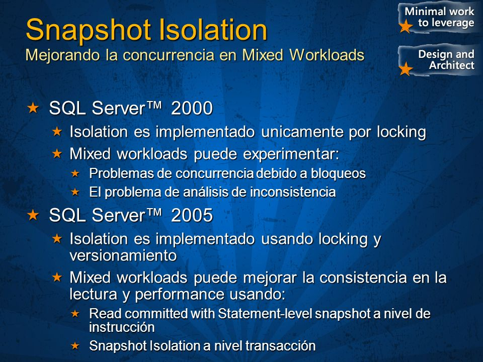 Snapshot Isolation Mejorando la concurrencia en Mixed Workloads
