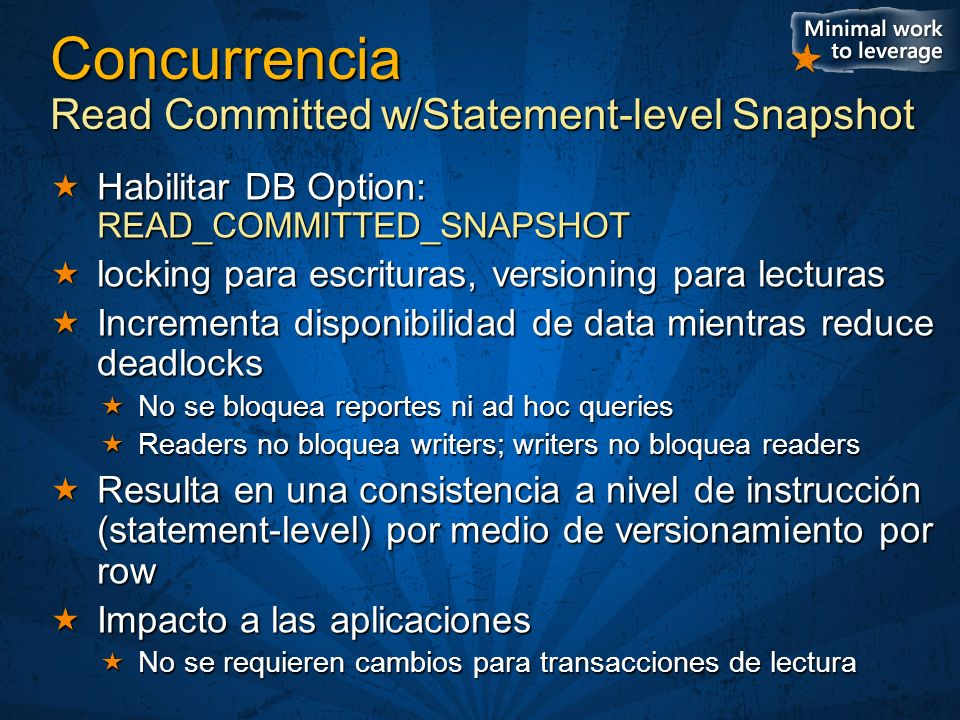 Concurrencia Read Committed w/Statement-level Snapshot