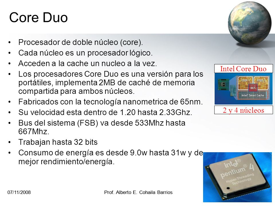 Core Duo Procesador de doble núcleo (core).