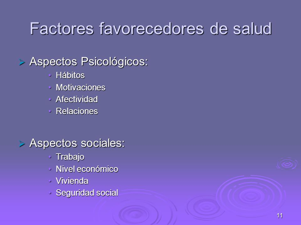 Factores favorecedores de salud