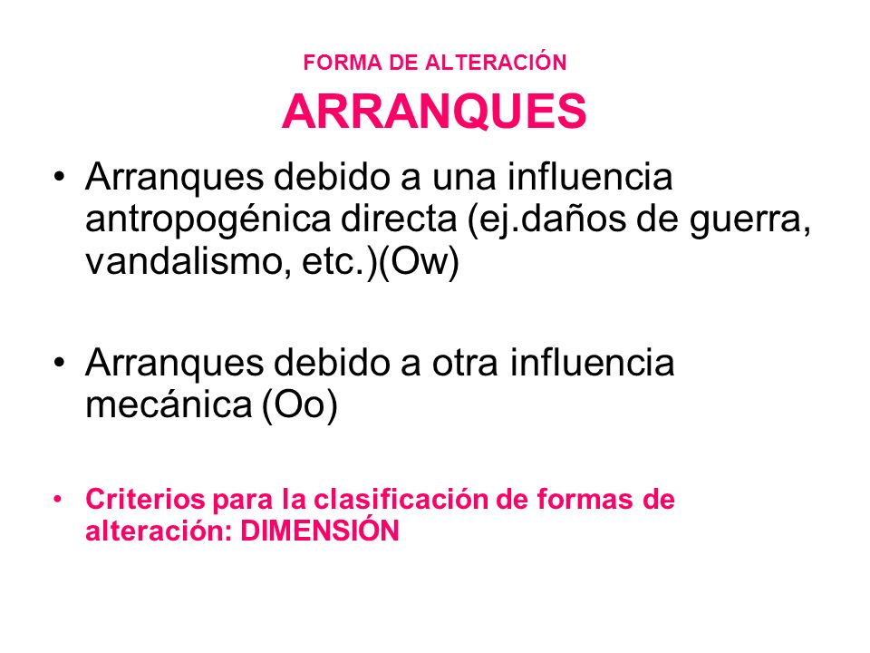 FORMA DE ALTERACIÓN ARRANQUES