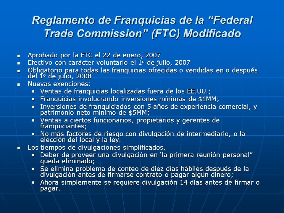 Reglamento de Franquicias de la Federal Trade Commission (FTC) Modificado