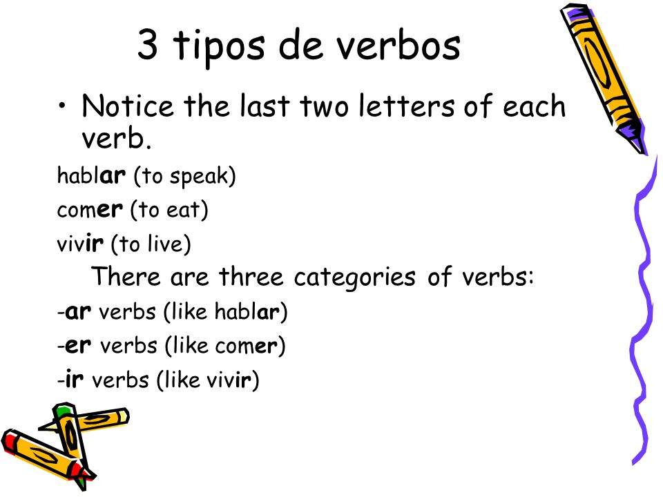 3 tipos de verbos Notice the last two letters of each verb.