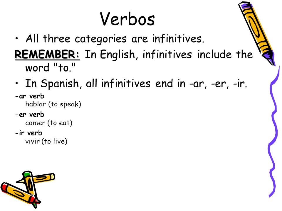 Verbos All three categories are infinitives.