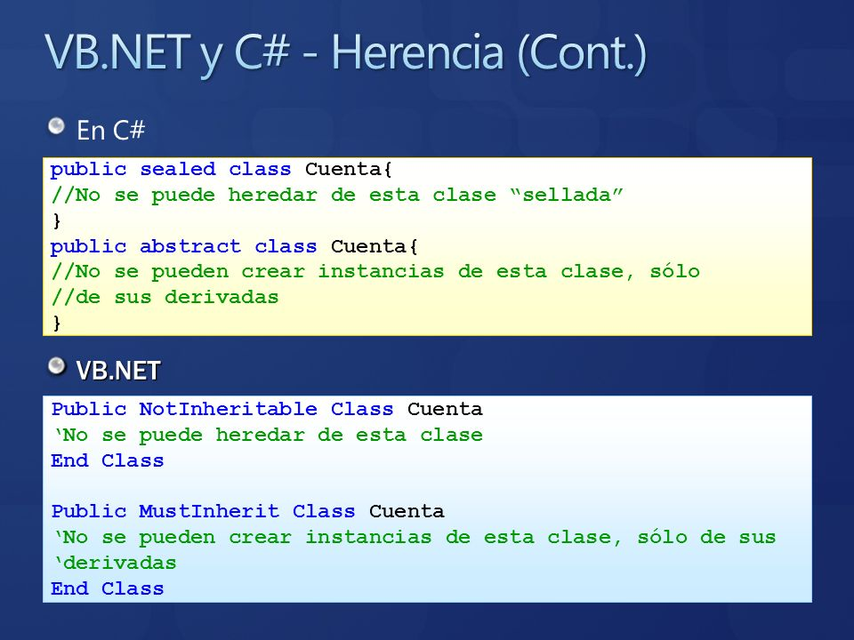 VB.NET y C# - Herencia (Cont.)