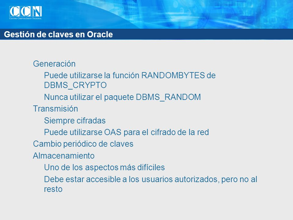 Gestión de claves en Oracle