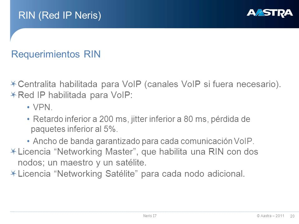 RIN (Red IP Neris) Requerimientos RIN
