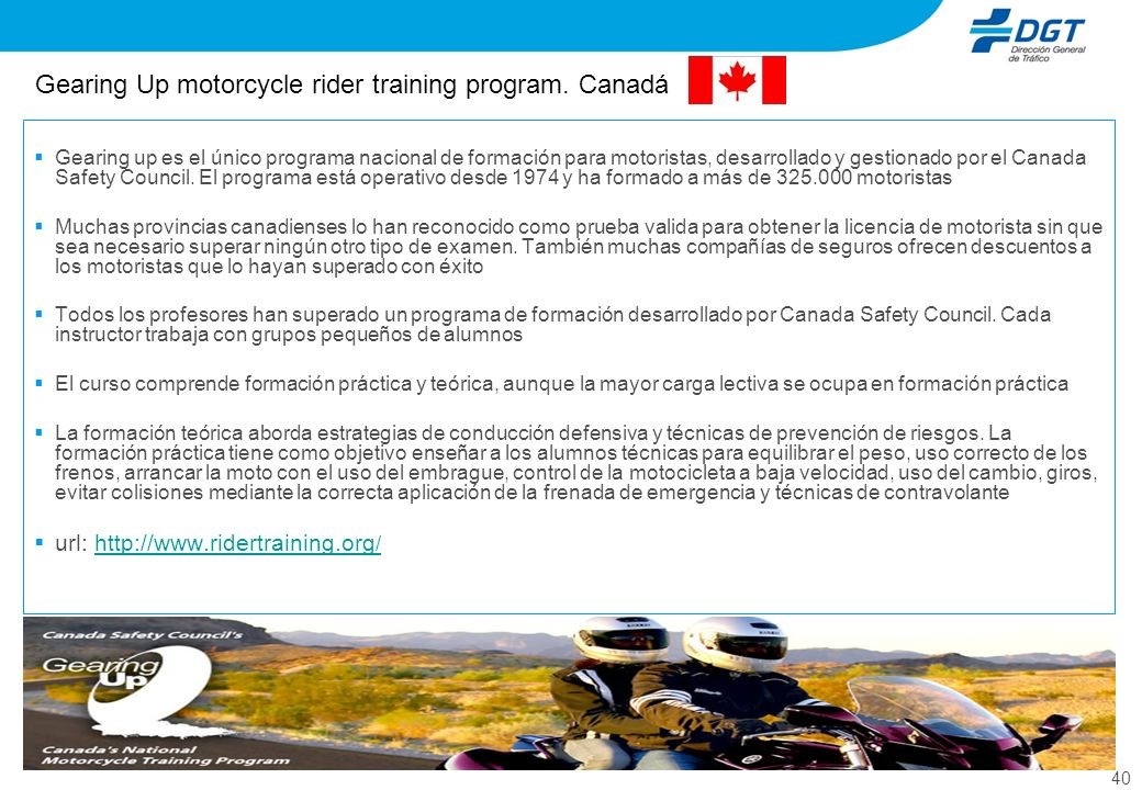 Gearing Up motorcycle rider training program. Canadá