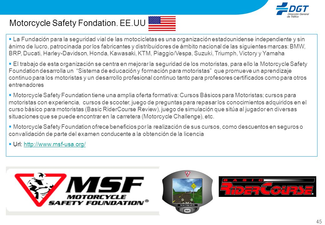 Motorcycle Safety Fondation. EE.UU