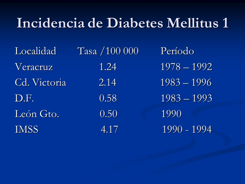 Incidencia de Diabetes Mellitus 1