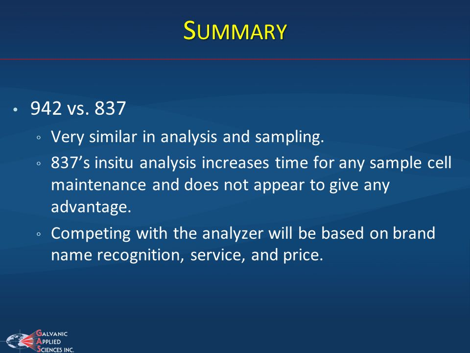 Summary 942 vs. 837 Very similar in analysis and sampling.