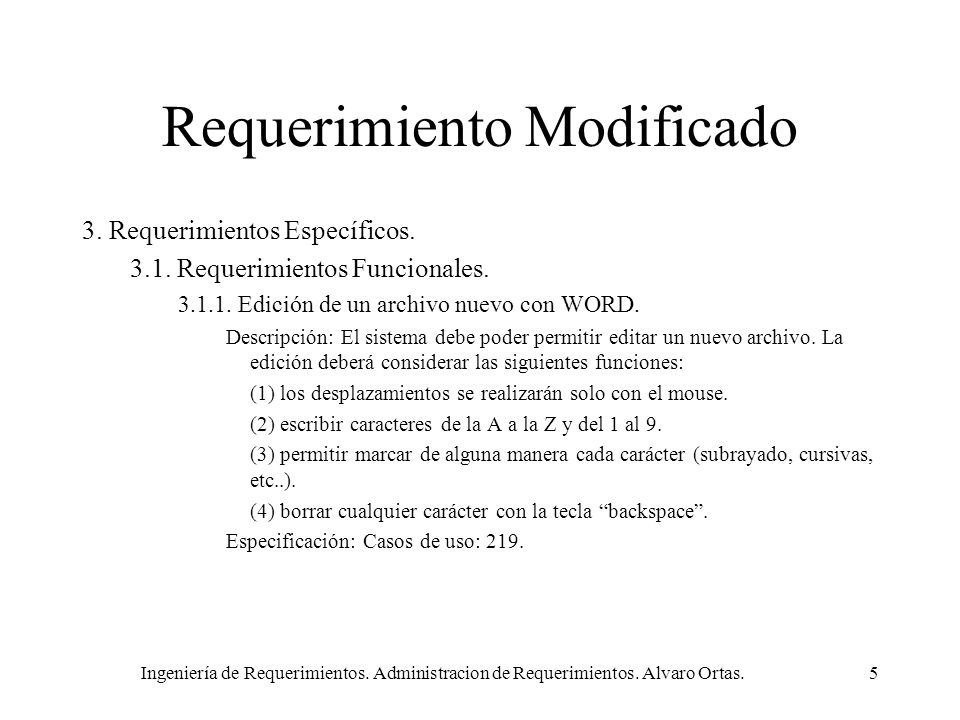 Requerimiento Modificado