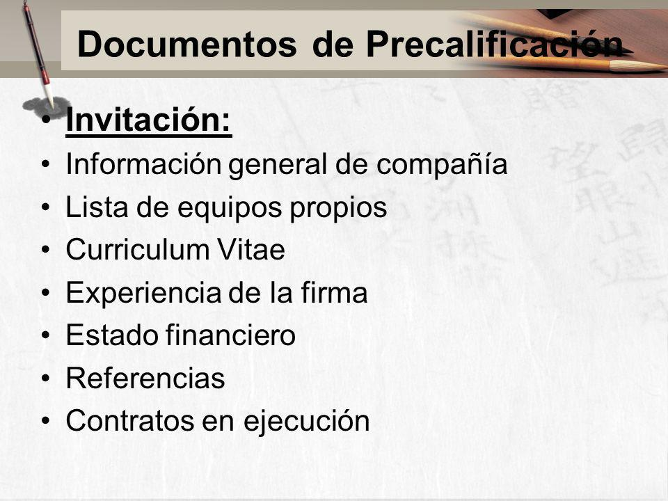 Documentos de Precalificación