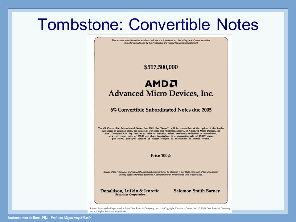 Tombstone: Convertible Notes