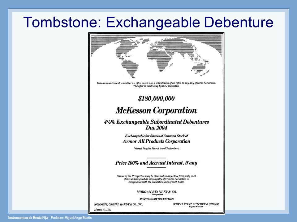 Tombstone: Exchangeable Debenture