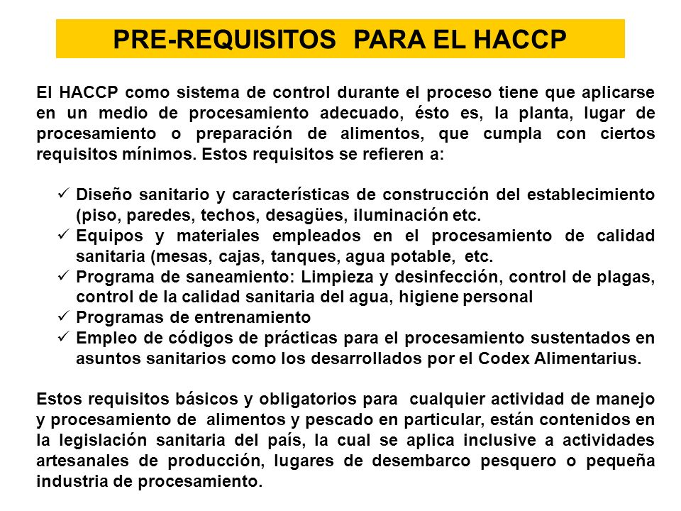 PRE-REQUISITOS PARA EL HACCP