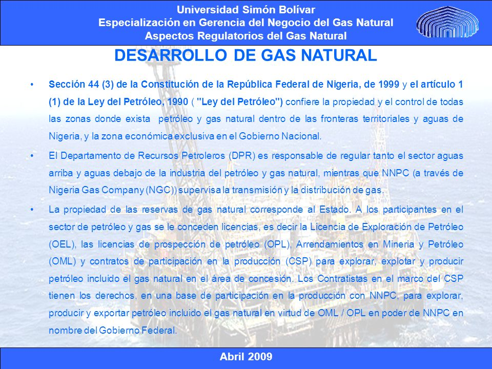 DESARROLLO DE GAS NATURAL