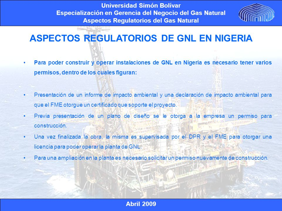 ASPECTOS REGULATORIOS DE GNL EN NIGERIA