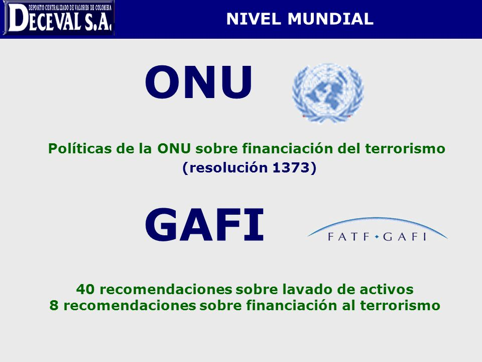 ONU GAFI NIVEL MUNDIAL (resolución 1373)