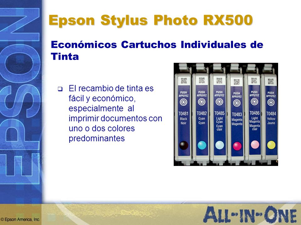 Epson Stylus Photo RX500 Económicos Cartuchos Individuales de Tinta