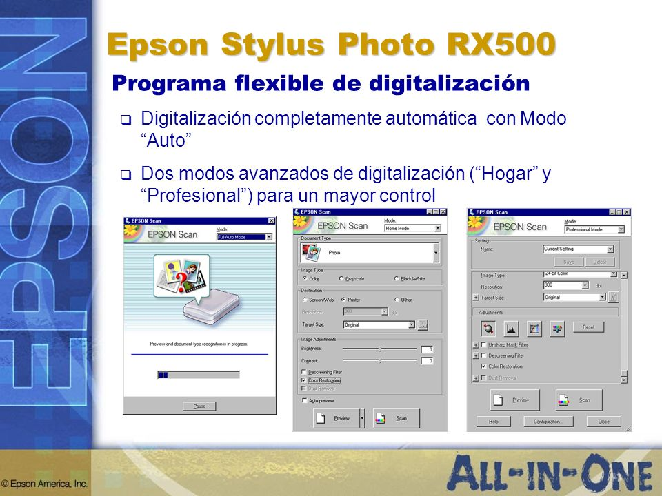 Epson Stylus Photo RX500 Programa flexible de digitalización