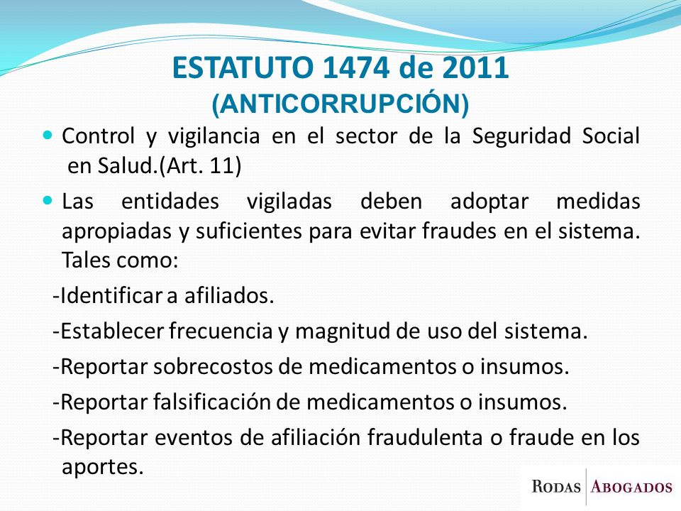 ESTATUTO 1474 de 2011 (ANTICORRUPCIÓN)
