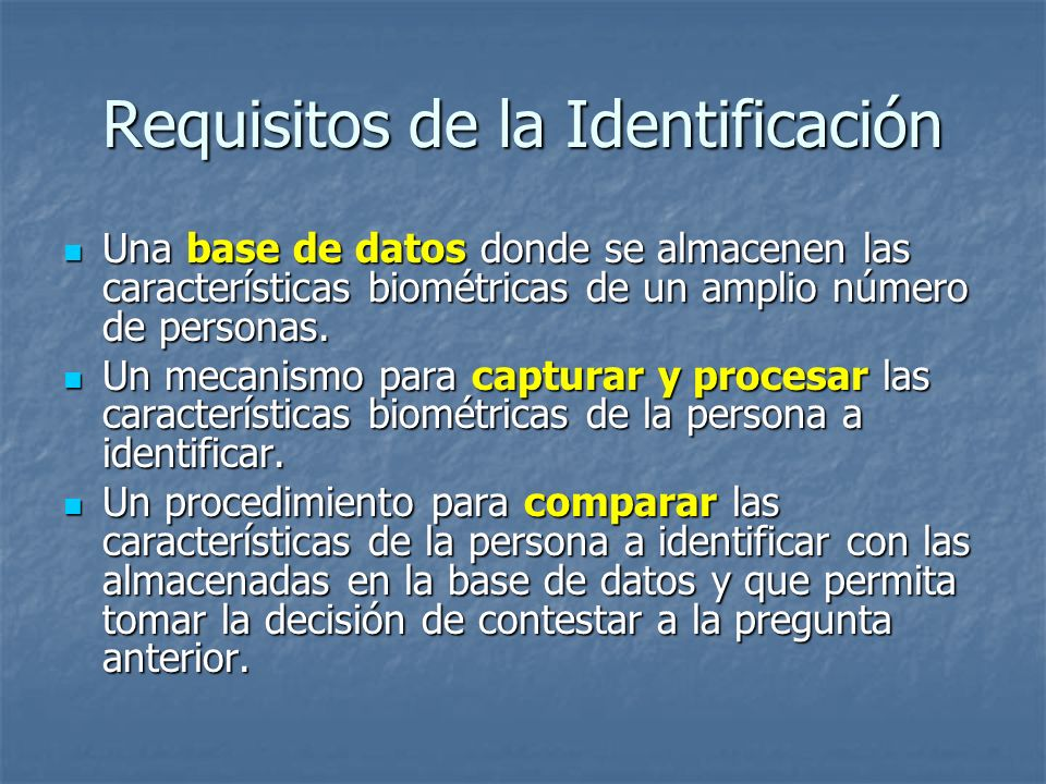Requisitos de la Identificación