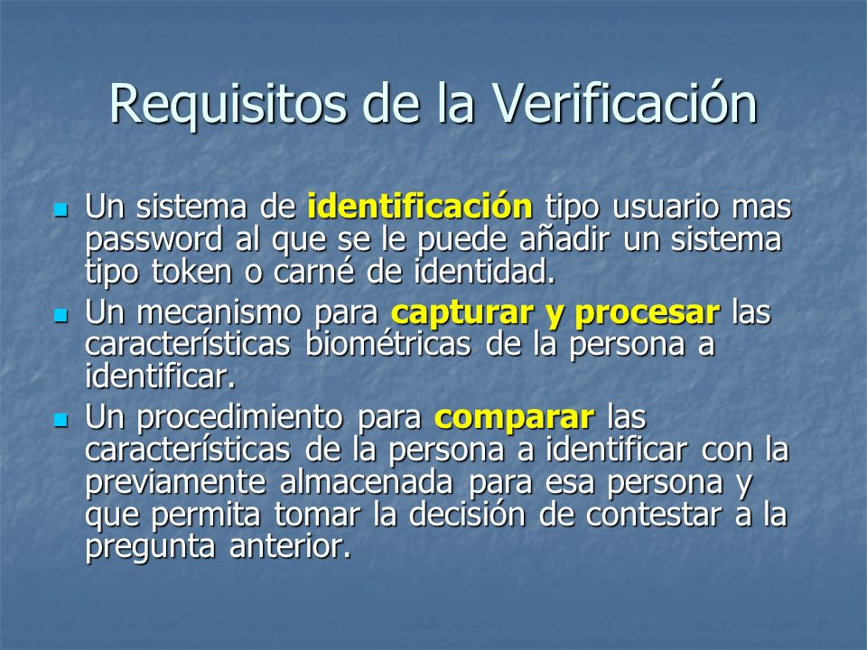Requisitos de la Verificación