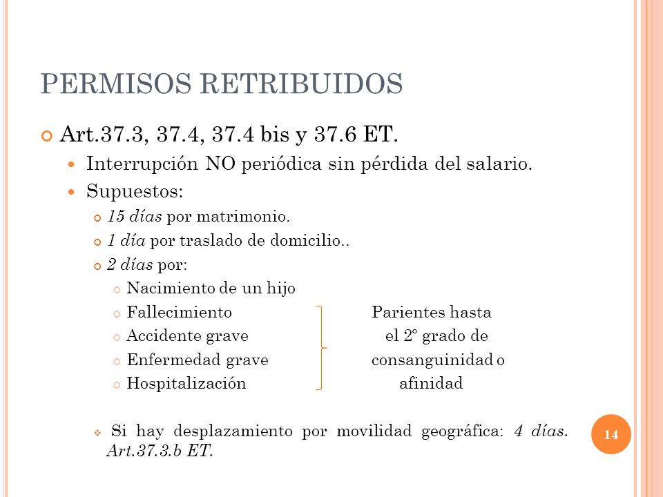PERMISOS RETRIBUIDOS Art.37.3, 37.4, 37.4 bis y 37.6 ET.