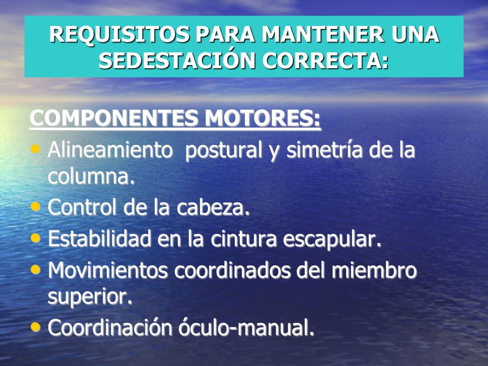REQUISITOS PARA MANTENER UNA SEDESTACIÓN CORRECTA: