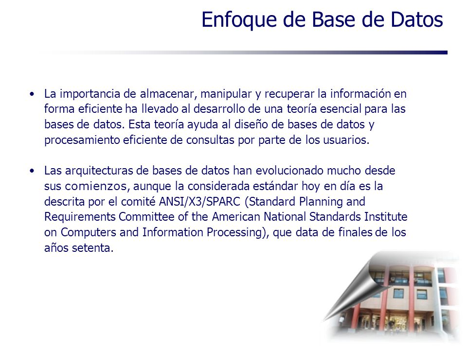 Enfoque de Base de Datos