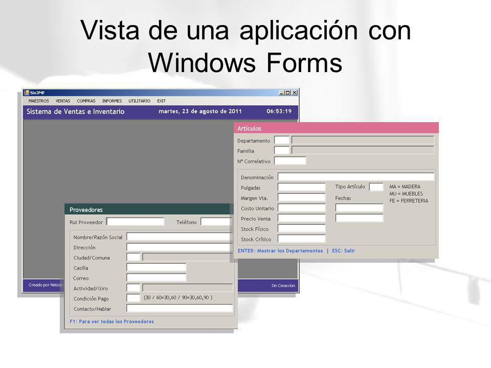 Vista de una aplicación con Windows Forms