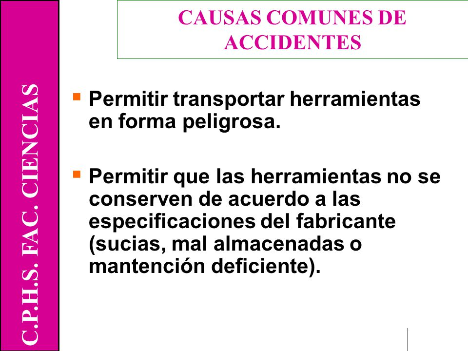 CAUSAS COMUNES DE ACCIDENTES