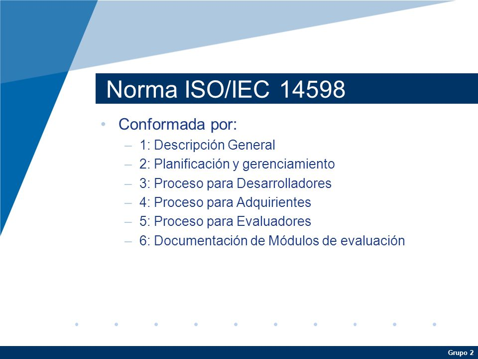 Norma ISO/IEC Conformada por: 1: Descripción General