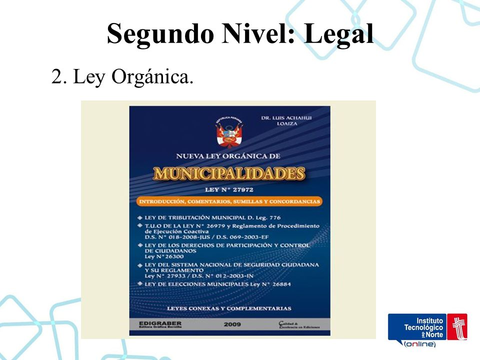 Segundo Nivel: Legal 2. Ley Orgánica.