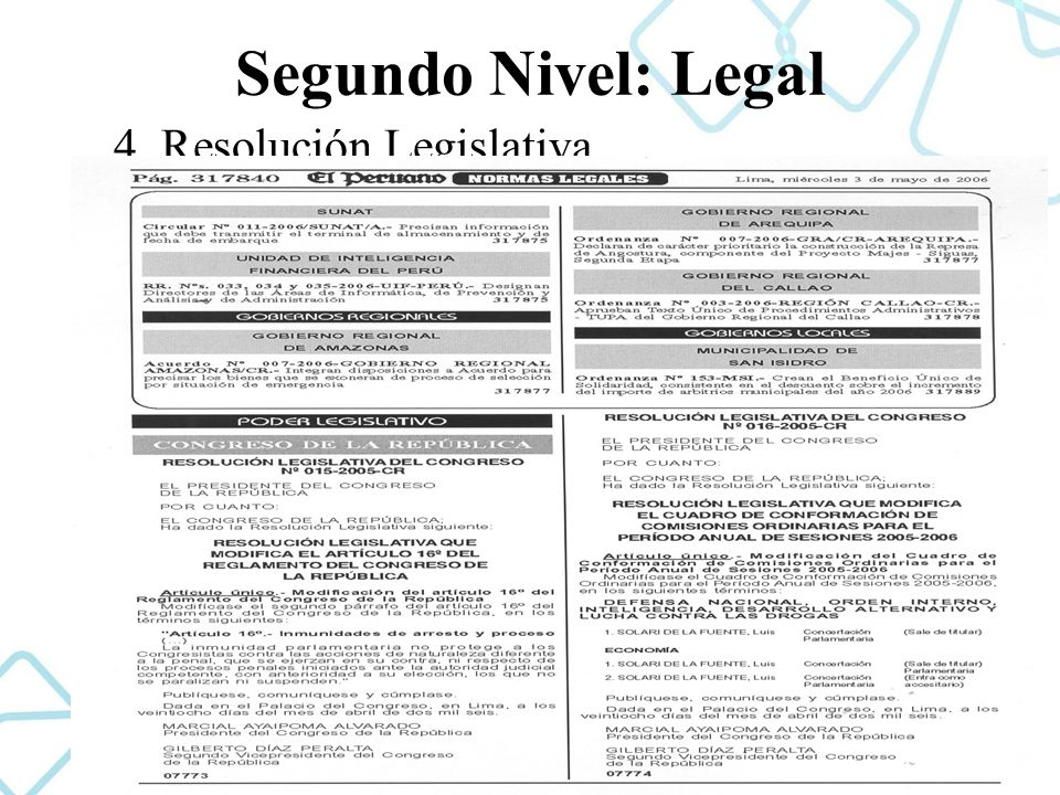 Segundo Nivel: Legal 4. Resolución Legislativa.